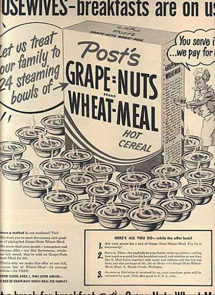 Post's Grape=Nuts Brand Wheat-Meal Hot Cereal (1948)