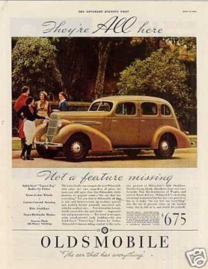 "Oldsmobile Car Color Ad ""They're All Here... (1935)"