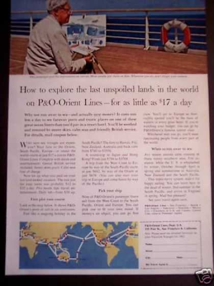Man Paints Picture On P&o-orient Lines Cruise (1962)