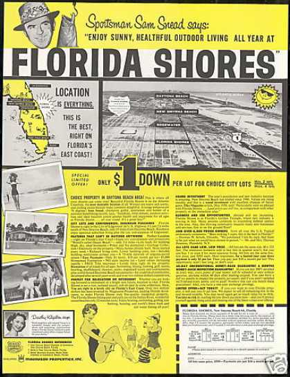 Florida Shores Choice City Lots Sam Snead (1958)