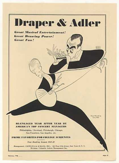 Draper & Adler Al Hirschfeld art Booking (1948)