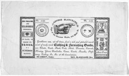 George Blanchard ... Gentlemen can, at all times, find a rich and splendid assortment of ready made clothing & furnishing goods; viz. cloaks, coats, p