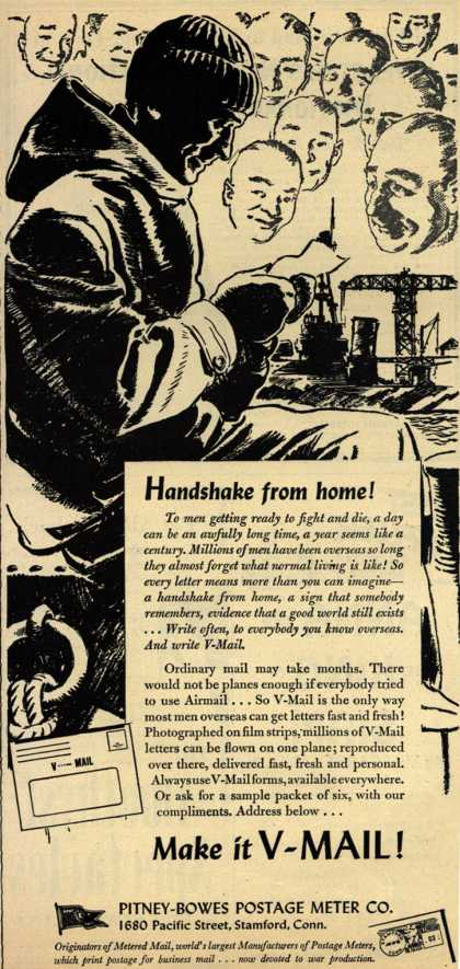 Pitney-Bowes Postage Meter Co.'s V-Mail – Handshake from home (1944)