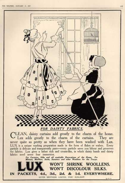 Lever Bros.'s Lux (laundry flakes) – For dainty fabrics (1917)