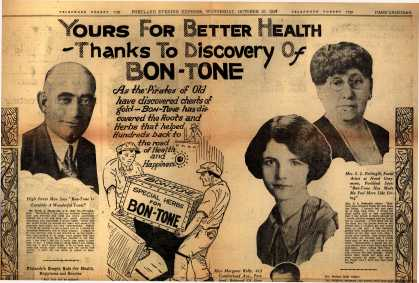 Unknown&#8217;s Bon-Tone &#8211; Yours for better health thanks to discovery of Bon-Tone (1928)