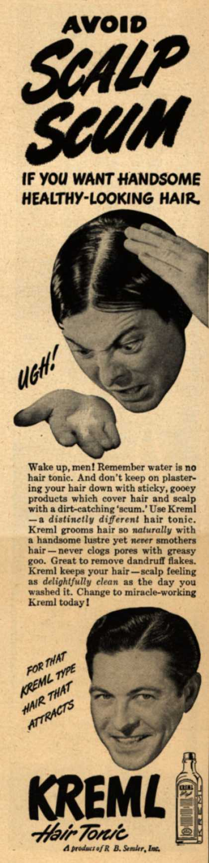 R.B. Semler's hair tonic – Avoid Scalp Scum (1948)