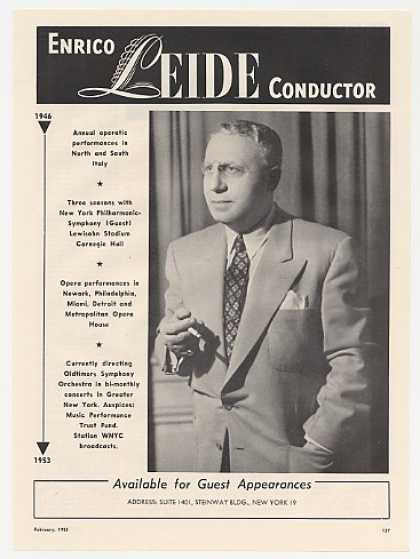 Conductor Enrico Leide Photo Booking Promo (1953)