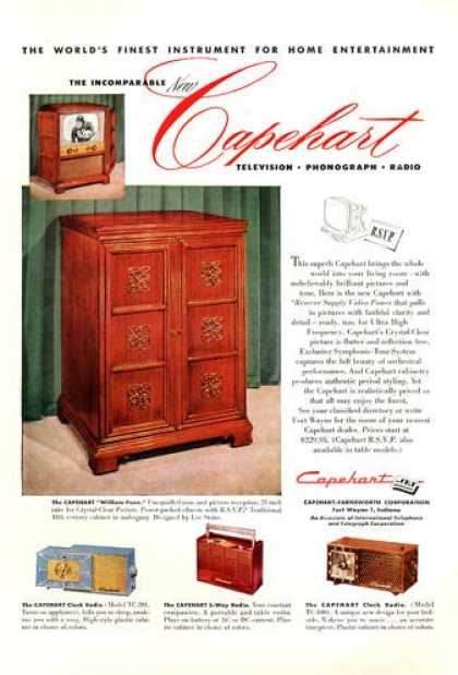 Capehart Tv Phono Radio Cabinet 4 Models (1952)