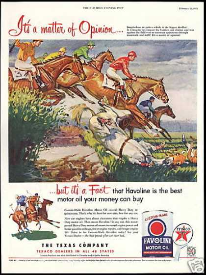 Horse Steeplechase Polo Pony Texaco Havoline (1952)
