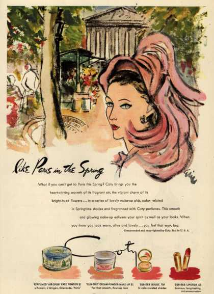 Coty's Cosmetics – like Paris in the Spring (1947)