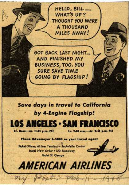American Airline's California – Save days in travel to California (1948)