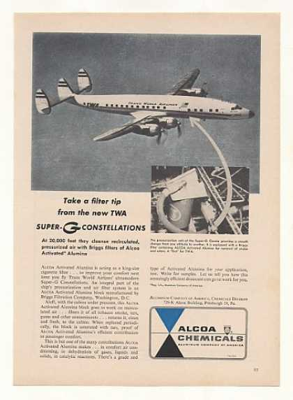 TWA Airlines Super-G Constellation Plane Alcoa (1955)