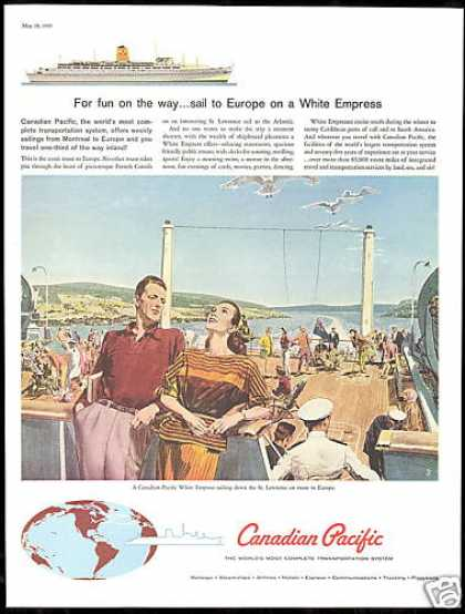 Canadian Pacific White Empress Cruise Ship Art (1960)