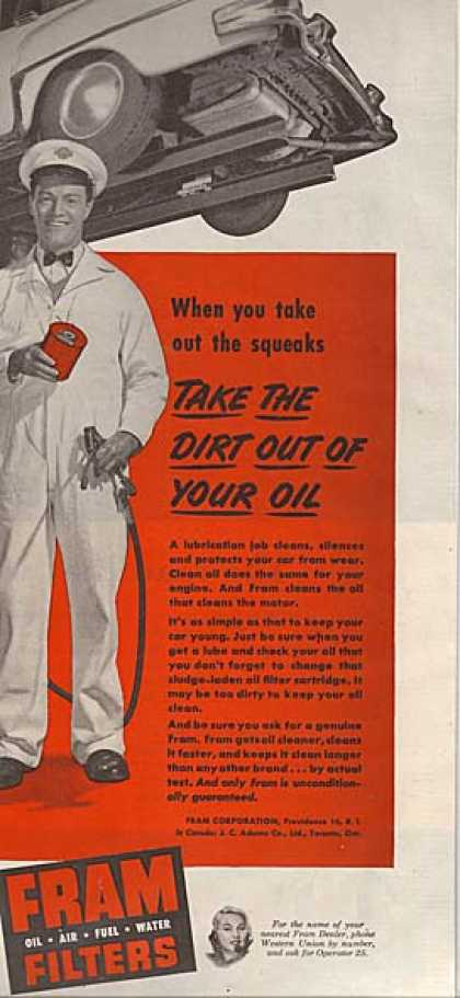 Fram's Oil, Air, Fuel and Water Filters (1953)