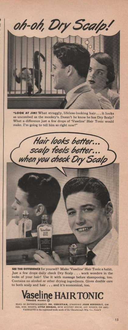 Vaseline Mens Hair Tonic Dry Scalp Print A (1949)