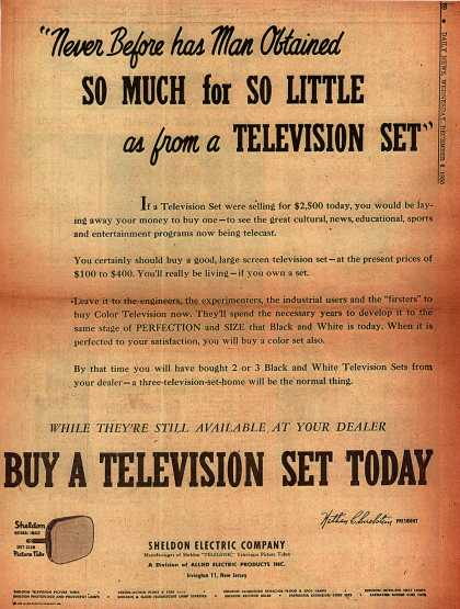 "Sheldon Electric Company's Television – ""Never Before has Man Offered SO MUCH for SO LITTLE as from a TELEVISION SET"" (1950)"