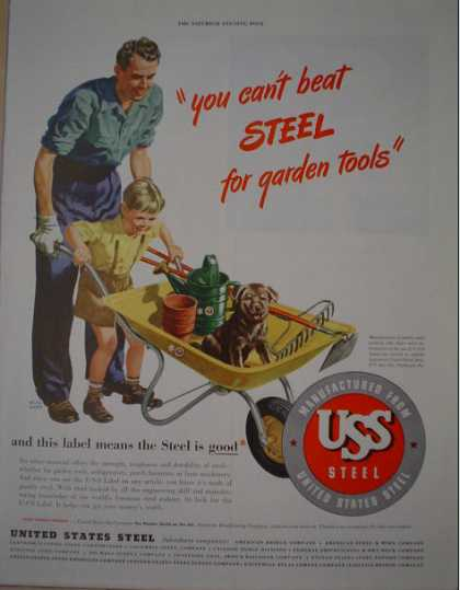 US Steel Father Son Gardening Theme Puppy (1946)