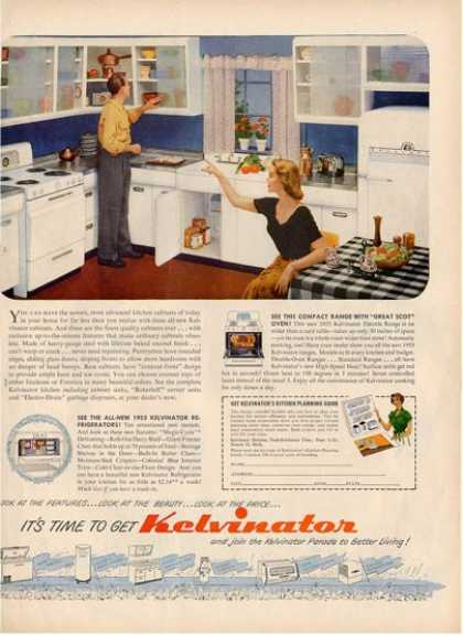 Kelvinator Kitchen Appliances Fridge Ad T (1953)
