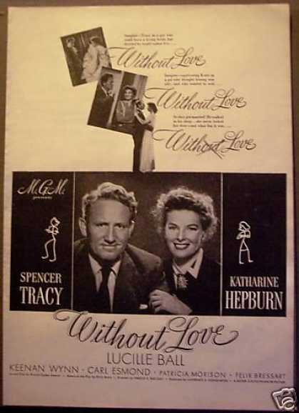 Movie Ad Without Love Hepburn, Tracy, Lucille Ball (1945)