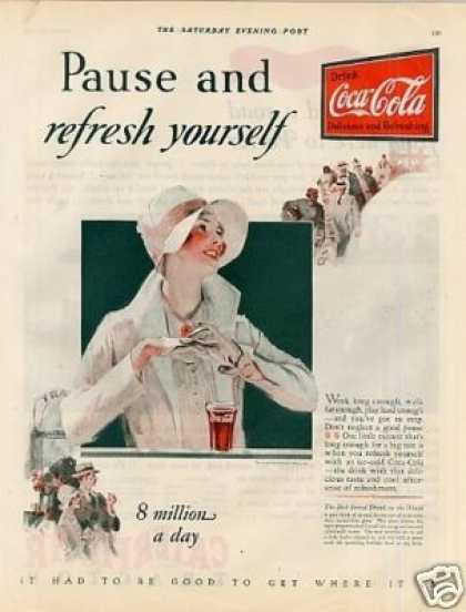 Coca-cola Color Ad &quot;Pause and Refresh... (1928)