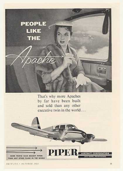 Piper Apache Airplane People Like Lady Photo (1957)