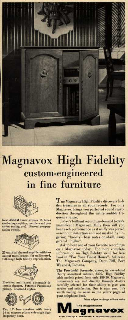 Magnavox Company's High Fidelity Radio – Magnavox High Fidelity Custom-Engineered in Fine Furniture (1956)