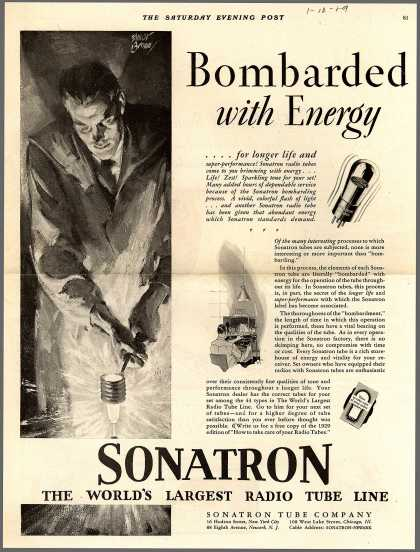 Sonatron Tube Company's Radio Tubes – Bombarded with Energy (1929)