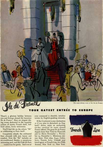 French Line's Ile de France – Ile de France Your Gayest Entree To Europe (1949)