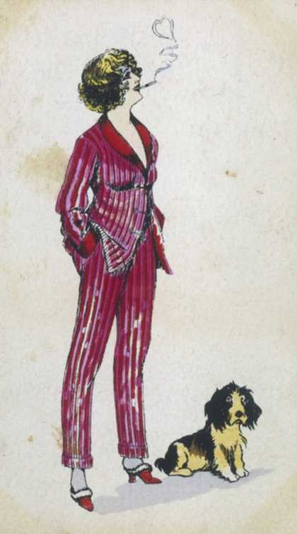 Forward Young Woman Wears a Cerise Pink and Red Pyjama Suit