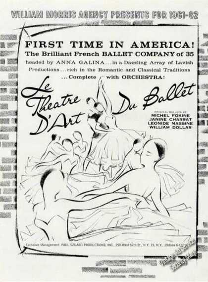 Le Theatre D'art Du Ballet Ad Nice Graphics French (1961)