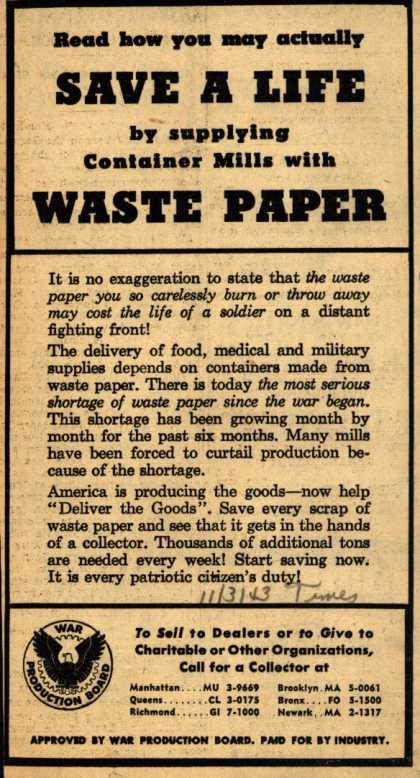 War Production Board's Waste Paper – Save A Life by supplying Container Mills with Waste Paper (1943)