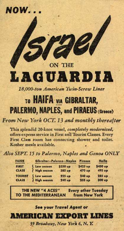 American Export Line's Israel – Now...Israel on the Laguardia (1949)