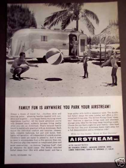 Family Playing W/ Beach Ball Airstream Trailer (1962)