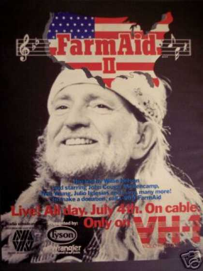 Willie Nelson Photo Farm Aid Ii Concert On Vh-1 (1986)