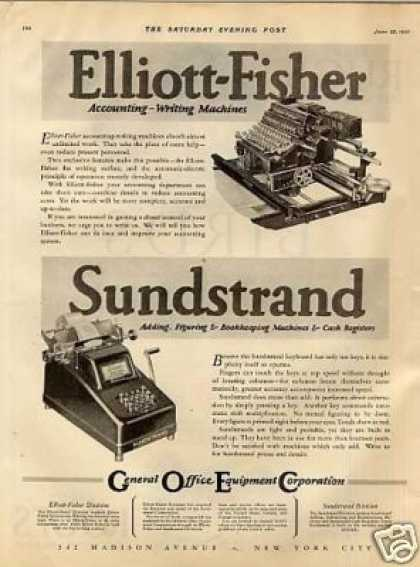 Elliott-fisher & Sundstrand Machines (1927)