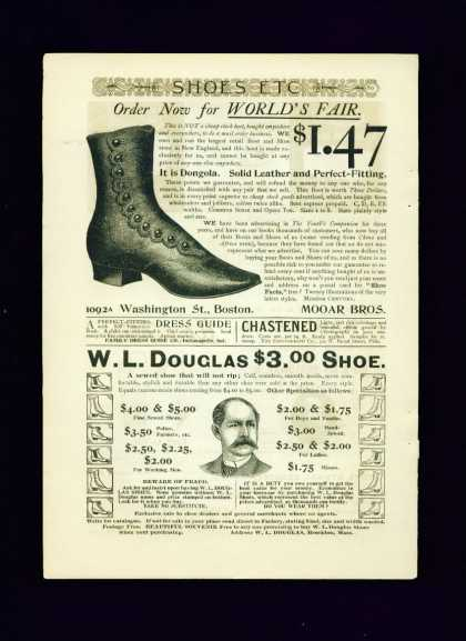 Mooar Bros Dongola Shoe C 1/2 Pg Ad &amp; W. L. Douglas (1893)