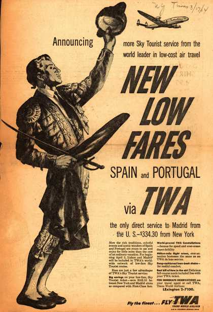 Trans World Airlines – New Low Fares Spain and Portugal via TWA (1954)