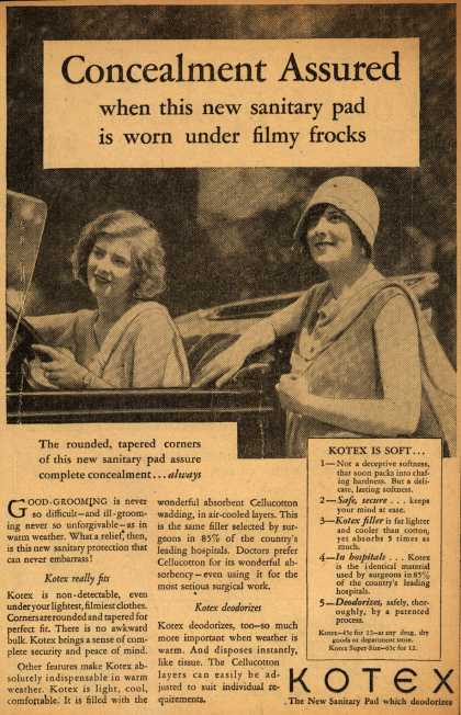Kotex Company's Sanitary Napkins – Concealment Assured when this new sanitary pad is worn under filmy frocks (1929)