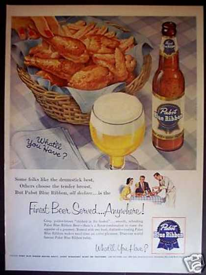 Pabst Blue Ribbon Beer Bottle Pbr (1954)