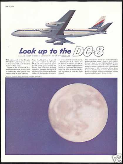 Moon Photo Douglas DC-8 DC8 Jetliner Airplane (1959)