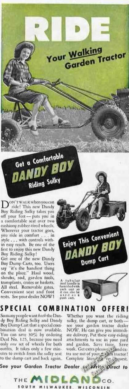 Dandy Boy Riding Sulky/dump Cart Midland (1948)