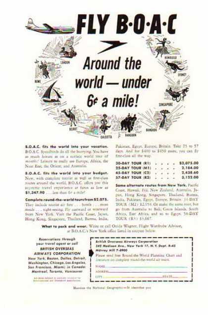 BOAC – Around the world under 6 cents a mile (1954)