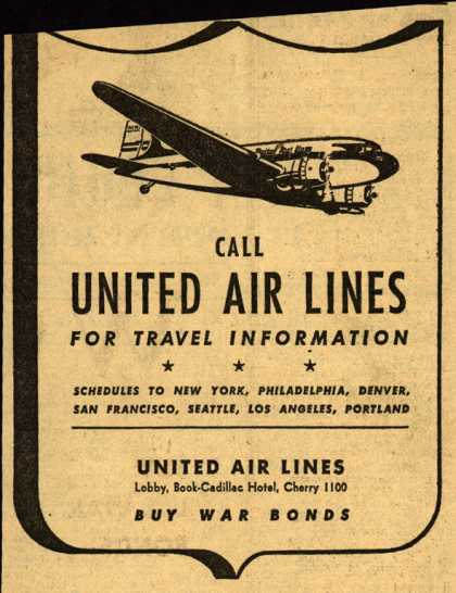 United Air Lines – Call UNITED AIR LINES for travel information (1943)