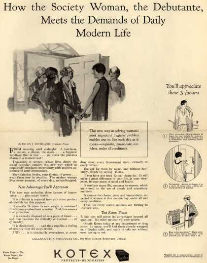 Cellucotton Products Company's Sanitary Napkins – How the Society Woman, the Debutante, Meets the Demands of Daily Modern Life (1925)