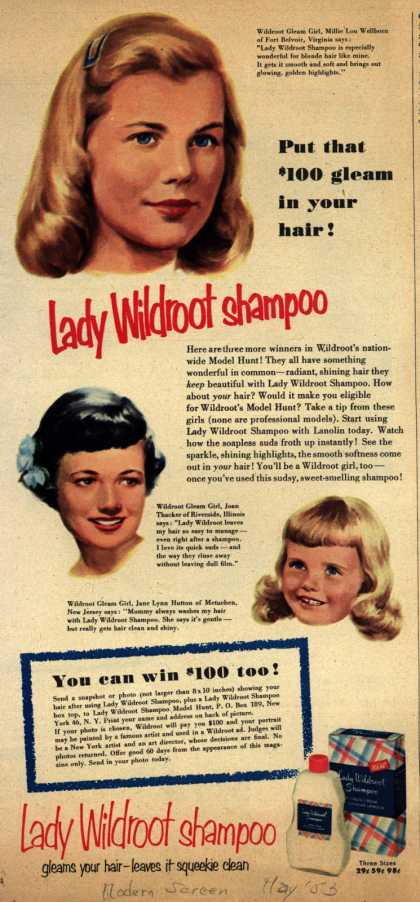 Wildroot Company's Lady Wildroot Shampoo – Put that $100 gleam in your hair (1953)