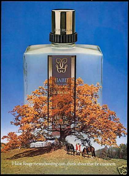 Guerlain Habit Rouge Mens Cologne Bottle Horse (1979)