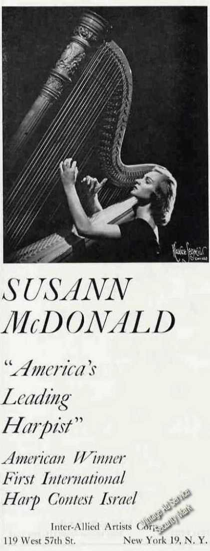 Susann Mcdonald Photo Harpist Trade (1960)