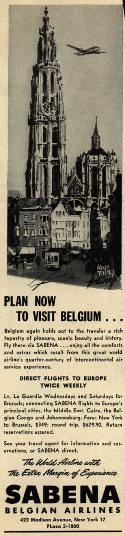Sabena Belgian Airline's Belgium – Plan Now To Visit Belgium (1947)