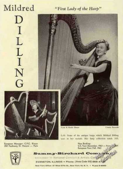 Mildred Dilling First Lady of the Harp Booking (1963)