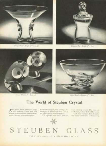 Steuben Glass Crystal Bowl Owls Vase Cigarette (1958)